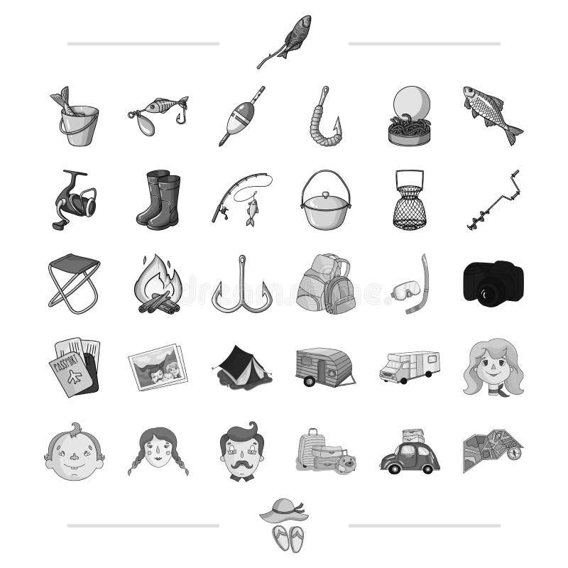 Podróż, transport i inna sieci ikona w czerni, projektujemy rodzina, połów, wycieczkuje ikony w ustalonej kolekci ilustracja wektor