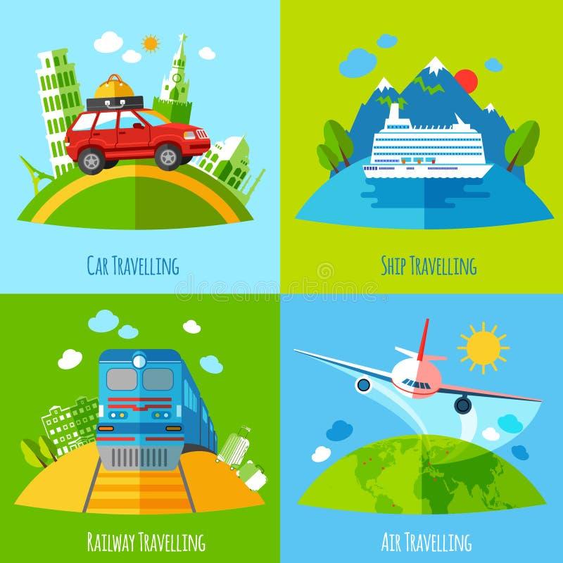 Podróż transportu 4 ikon płaski kwadrat royalty ilustracja