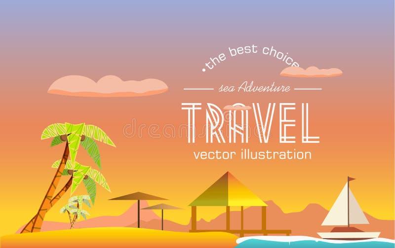 Podróż tropikalna wyspa ilustracja wektor