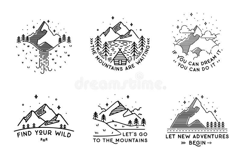 Podróż ustawiająca z emblematami Lato wektoru ilustracje Projekt ilustracja wektor