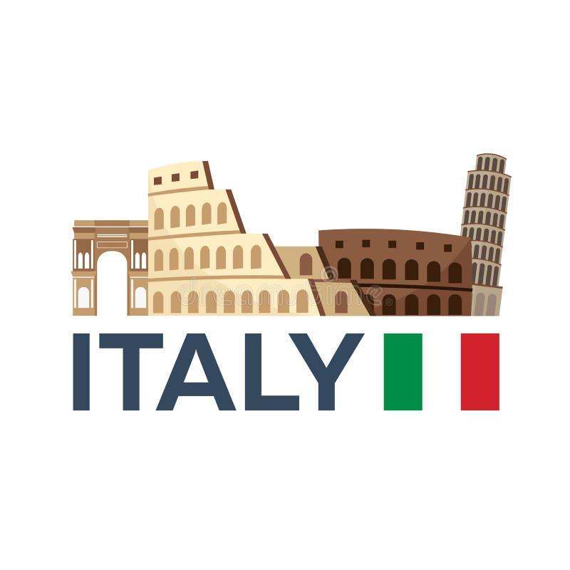 Podróż Włochy, Rzym linia horyzontu również zwrócić corel ilustracji wektora royalty ilustracja