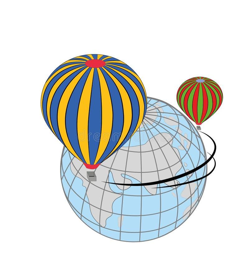 Podróż w gorące powietrze balonie dookoła świata Pojęcie podróż również zwrócić corel ilustracji wektora royalty ilustracja