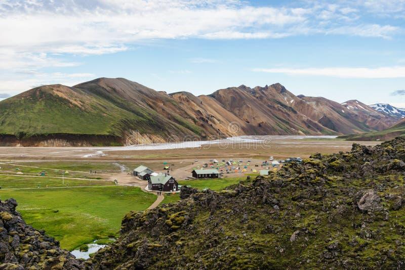 Podróż w Iceland, obóz w Landmannalaugar obraz royalty free