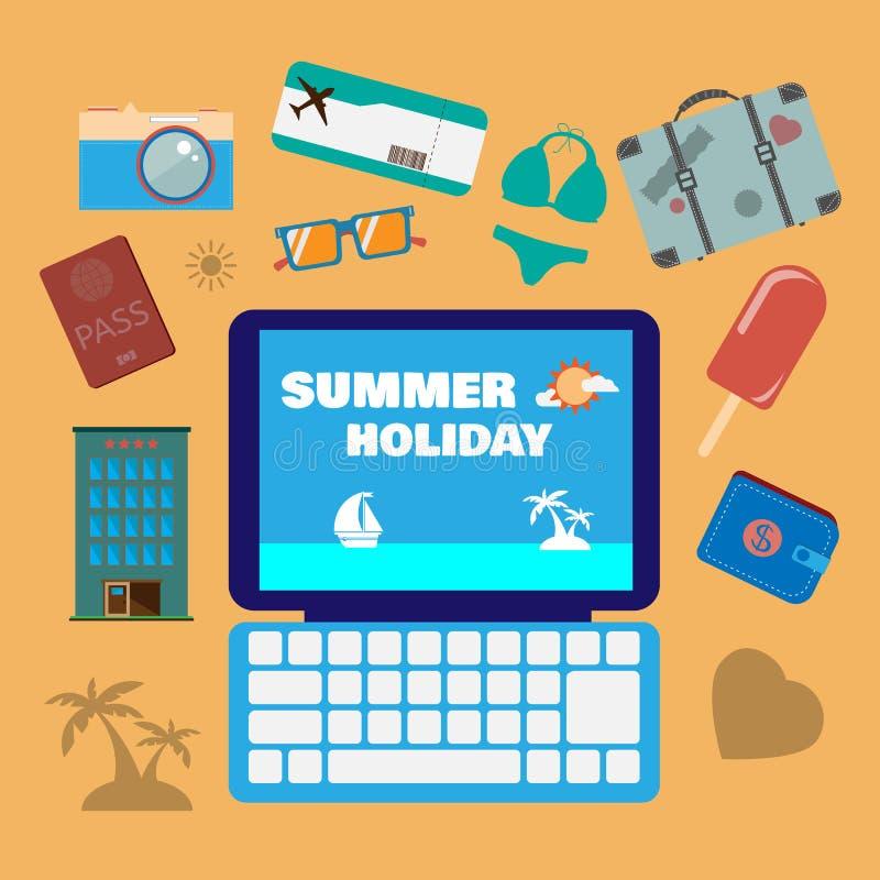 Podróż wakacje letni ikony planistyczny set ilustracji