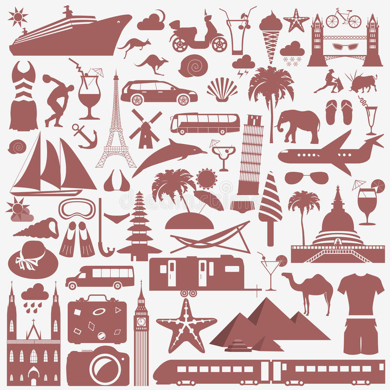 Podróż wakacje Miejscowości nadmorskich ustalone ikony Elementy dla tworzyć royalty ilustracja