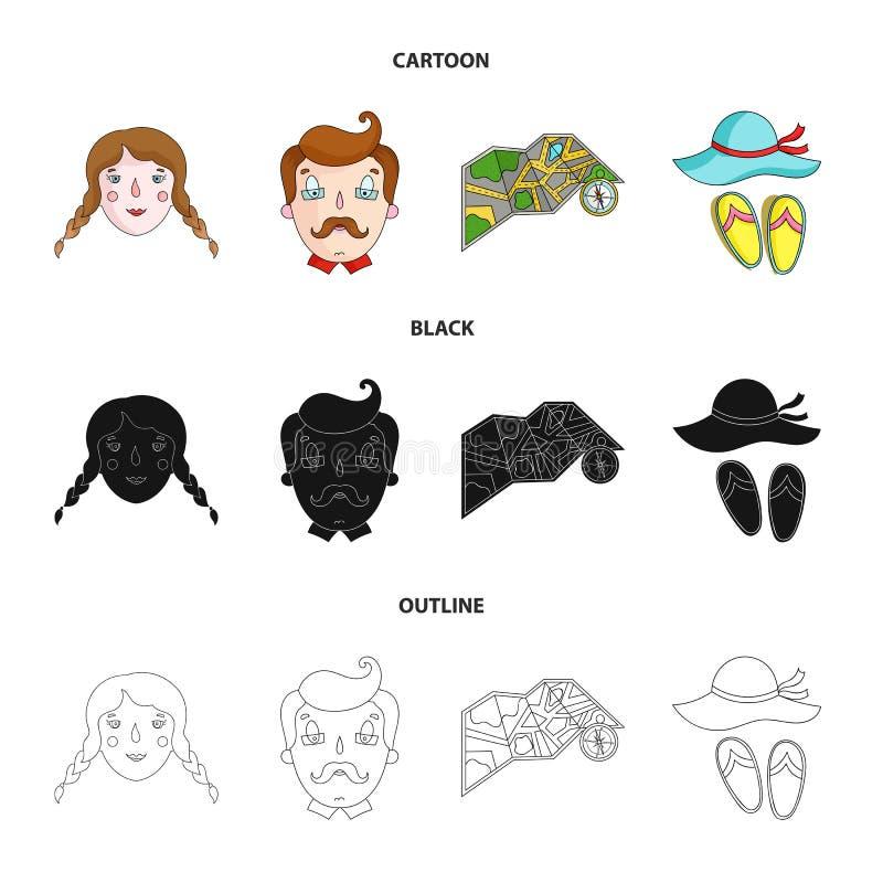 Podróż, wakacje, obozuje, mapa Rodzinnego wakacje ustalone inkasowe ikony w kreskówce, czerń, konturu symbolu stylowy wektorowy z ilustracji