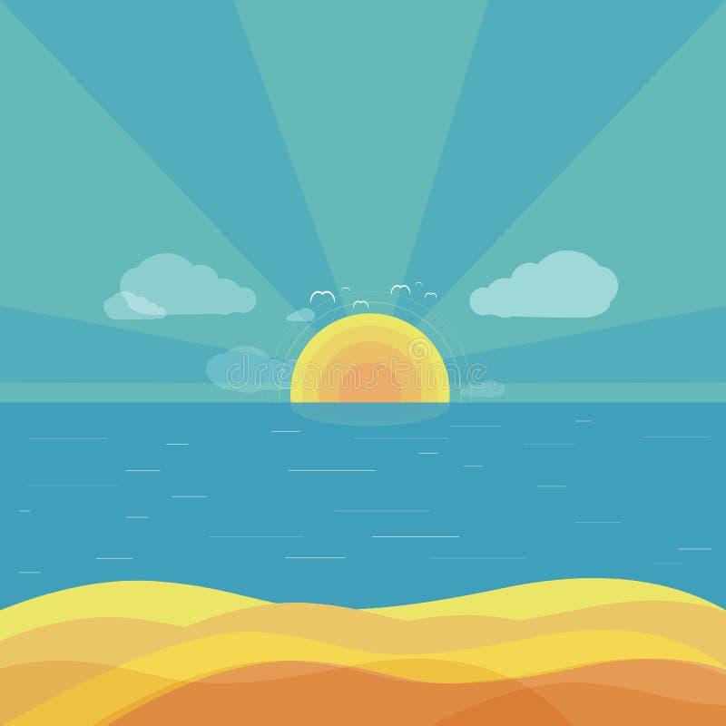 Podróż wschodu słońca projekta Plażowy mieszkanie royalty ilustracja
