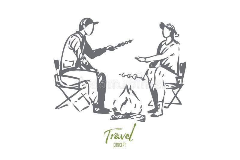 Podróż z rodzinnego pojęcia nakreśleniem Odosobniona wektorowa ilustracja ilustracja wektor