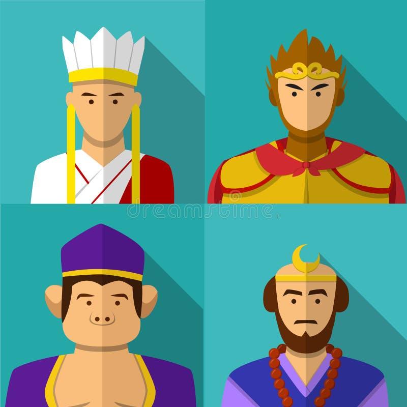 Podróż Zachodni charakteru portret w mieszkaniu royalty ilustracja