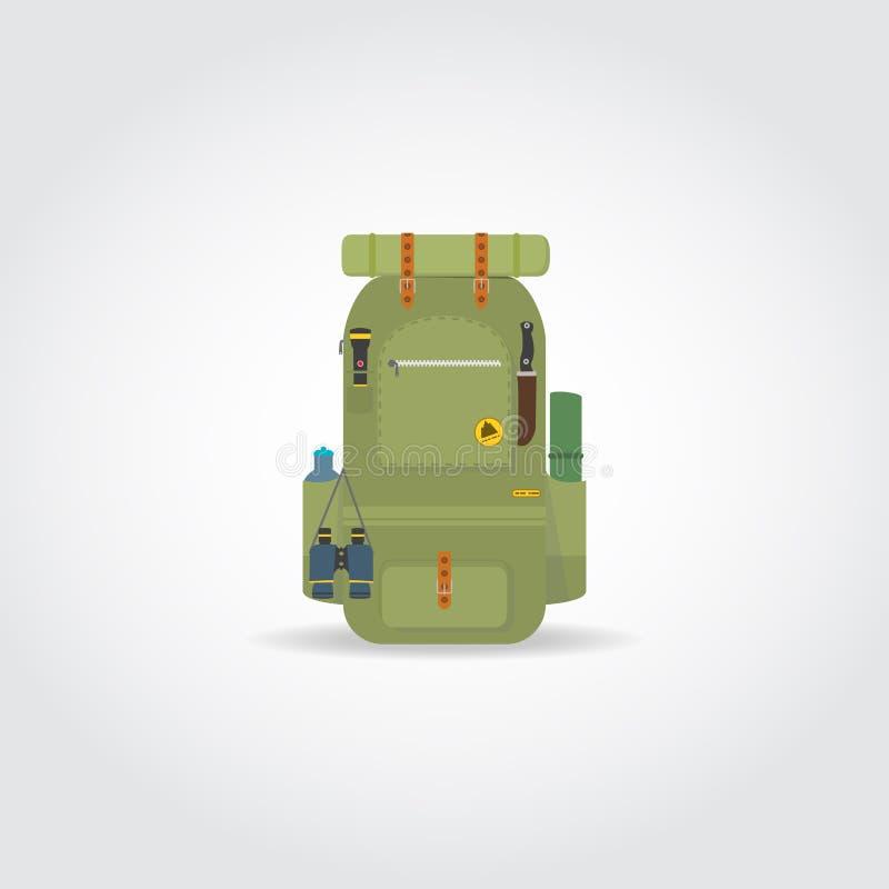 Podróż zielony plecak ilustracja wektor