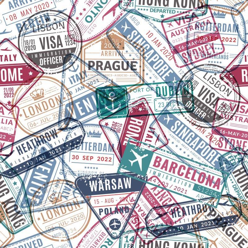 Podróż znaczka wzór Rocznika podróżnika paszportowa lotniskowa wiza przyjeżdżający znaczki Podróżnego światu wakacje bezszwowy we ilustracji