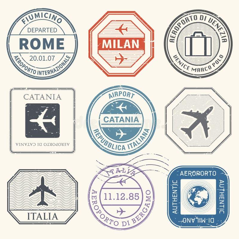 Podróż znaczki lub przygoda symbole ustawiają Włochy lotniska temat royalty ilustracja