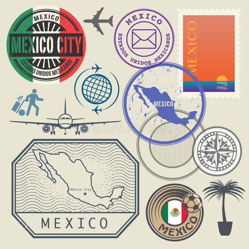 Podróż znaczki ustawiający, Meksyk ilustracja wektor