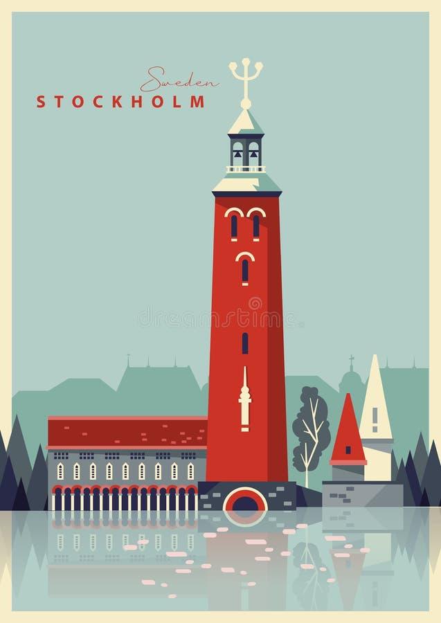 Podróże szwedzkie Pamiątka ze Szwecji Pocztówka wektorowa ilustracja wektor