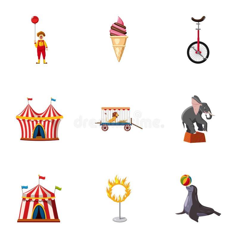 Podróżnego chapiteau cyrkowe ikony ustawiać royalty ilustracja