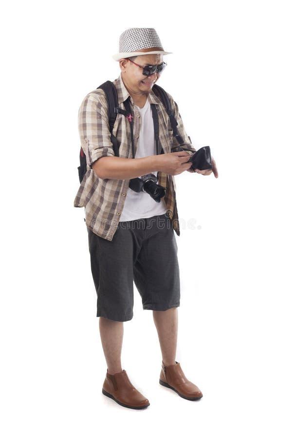 Podróżni ludzie Odizolowywający na bielu Męski Backpacker turysta Brok zdjęcia stock