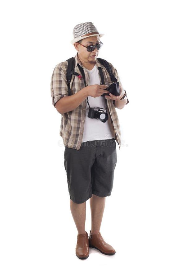 Podróżni ludzie Odizolowywający na bielu Męski Backpacker turysta Brok zdjęcie royalty free