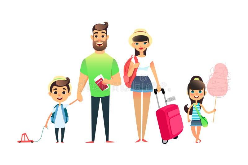 Podróżni rodzinni ludzie czeka samolot lub pociąg Kreskówka tata, mama i dziecko podróżuje wpólnie, Młoda kreskówka ilustracji