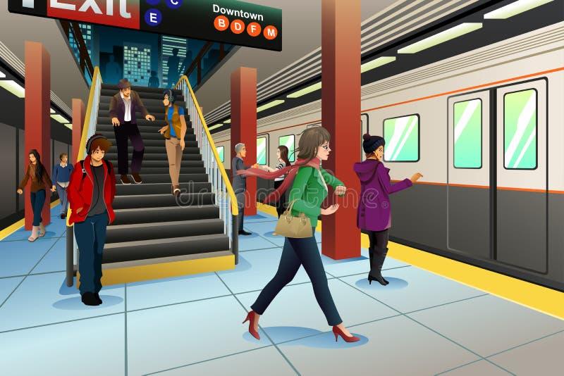 Podróżnicy przy stacją metru royalty ilustracja