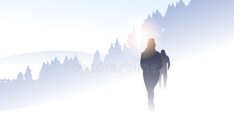 Podróżnik Grupowej sylwetki Wycieczkuje Halnej zimy natury Lasowego tło ludzie ilustracji