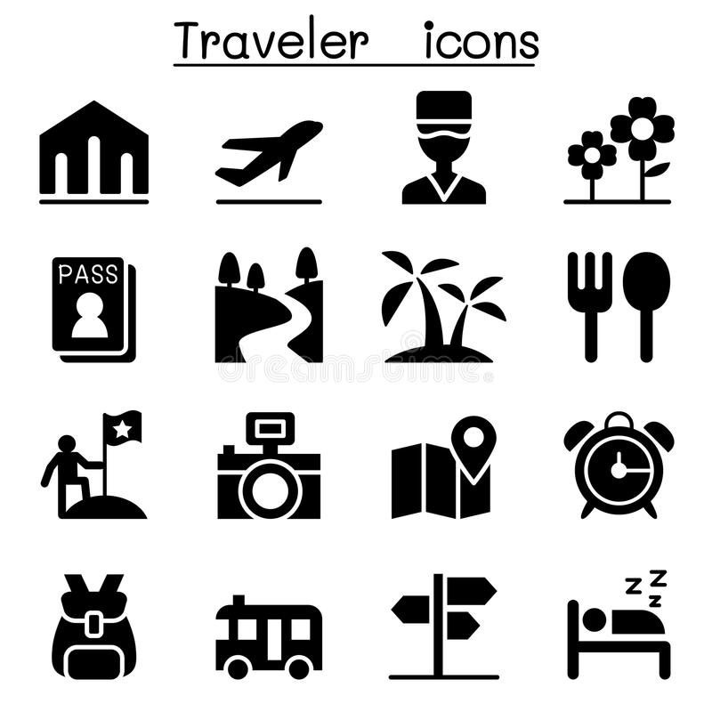 Podróżnik ikony set ilustracji