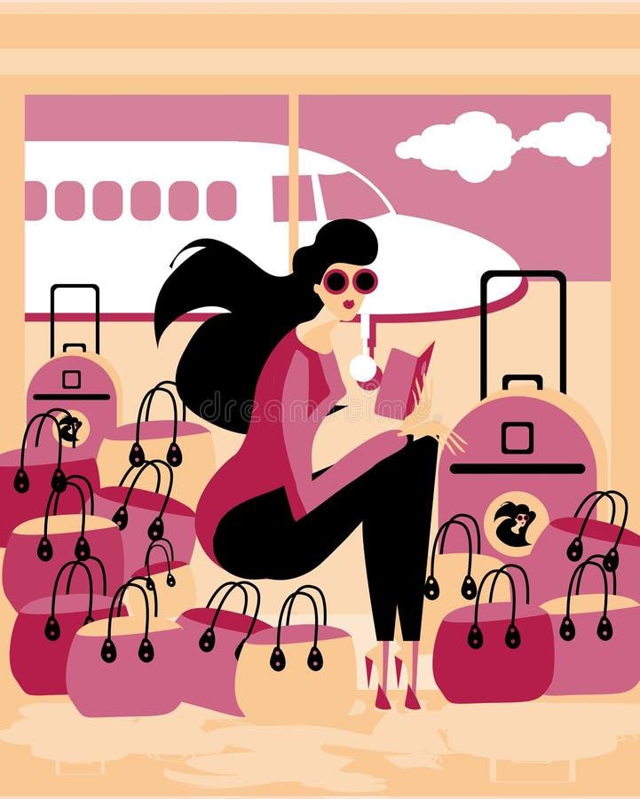 podróżnik Kaukaski młodej kobiety obsiadanie w lotniskowej poczekalni royalty ilustracja