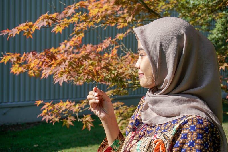 Podr??nik Muzu?ma?ska kobieta, b?d?cy ubranym batika i hijab odziewa, by? przygl?daj?cy li?cie klonowi, podnosi? w g?r? od obok fotografia royalty free