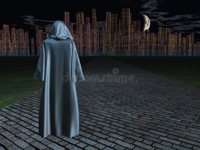 Podróżnik przed miastem ilustracja wektor