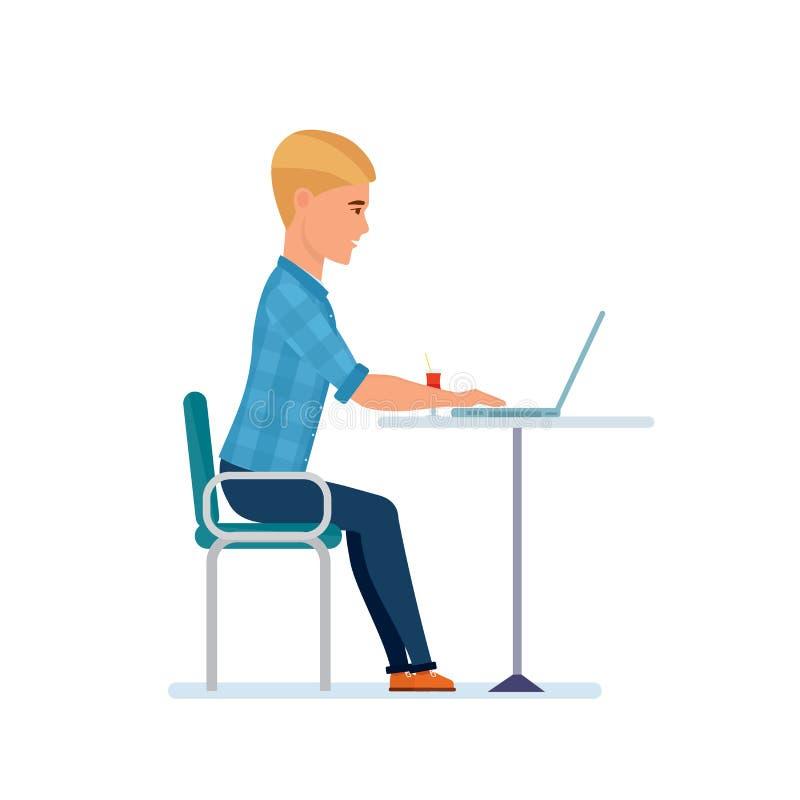 Podróżnik przy komputerem, napoju koktajl, komunikuje, patrzeje, fotografie, wydaje czas royalty ilustracja