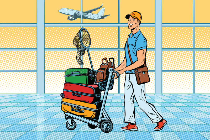 Podróżnik, turysta z bagażem przy lotniskiem royalty ilustracja