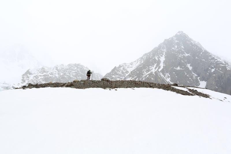 Podróżnik w górach obraz royalty free