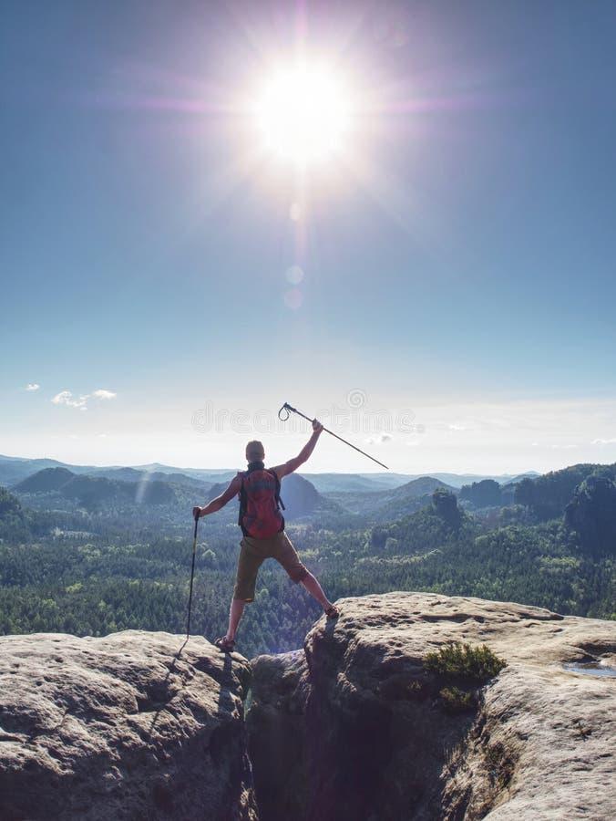 Podróżnik z plecakiem podniesionym ostatecznie na ramiona z pałeczkami trekkingowymi zdjęcia stock