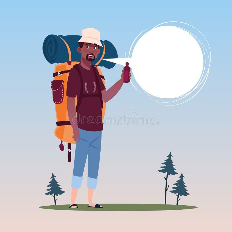 Podróżnika amerykanina afrykańskiego pochodzenia mężczyzna Z plecaka Szczęśliwym Młodym facetem Na podwyżka sztandarze ilustracja wektor