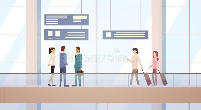 Podróżnika Hall Lotniskowej Wyjściowej Śmiertelnie podróży torby Bagażowej walizki ludzie, Pasażerskiej Sprawdzają Wewnątrz bagaż ilustracji