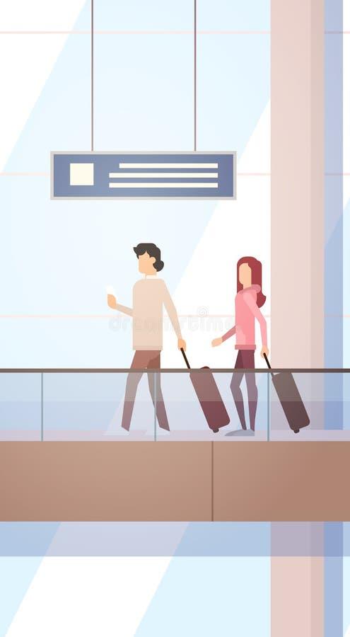 Podróżnika Hall Lotniskowej Wyjściowej Śmiertelnie podróży torby Bagażowej walizki ludzie, Pasażerskiej Sprawdzają Wewnątrz bagaż ilustracja wektor