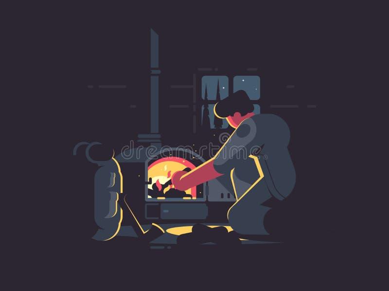 Podróżnika mężczyzna ciepły pem ilustracja wektor