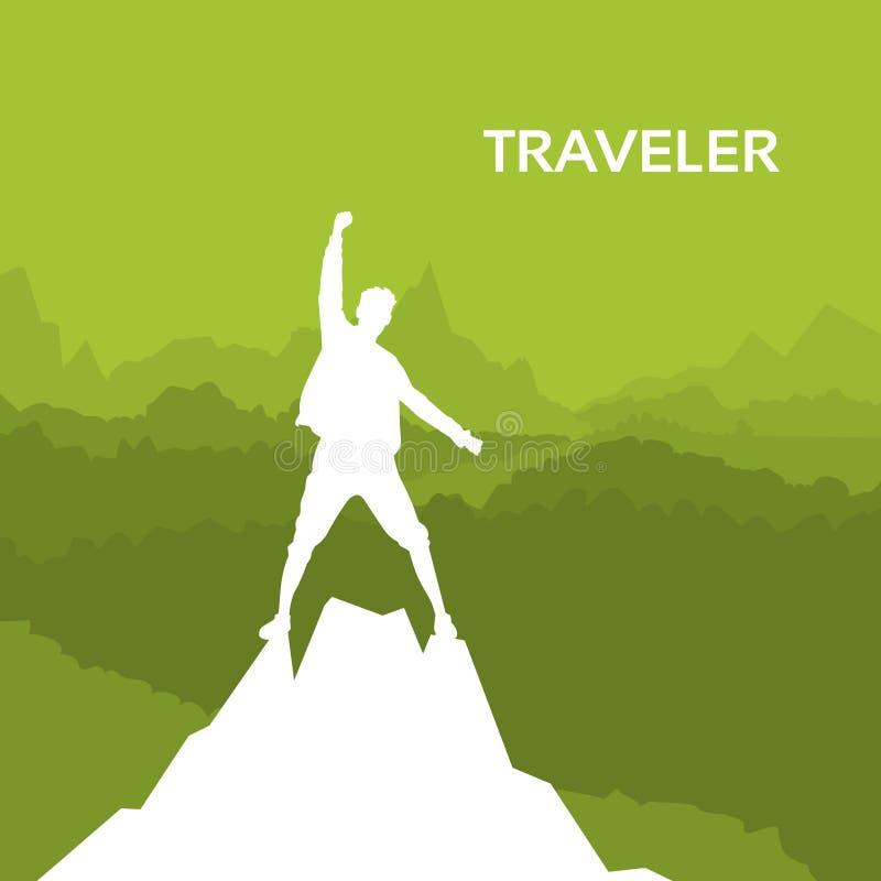Podróżnika mężczyzna sylwetki Rockowego arywisty stojak Na Odgórnej górze royalty ilustracja