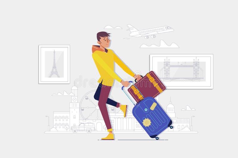 Podróżnika mężczyzny odprowadzenie z walizką w ulicie Wektorowa ilustracja w kreskówka stylu royalty ilustracja