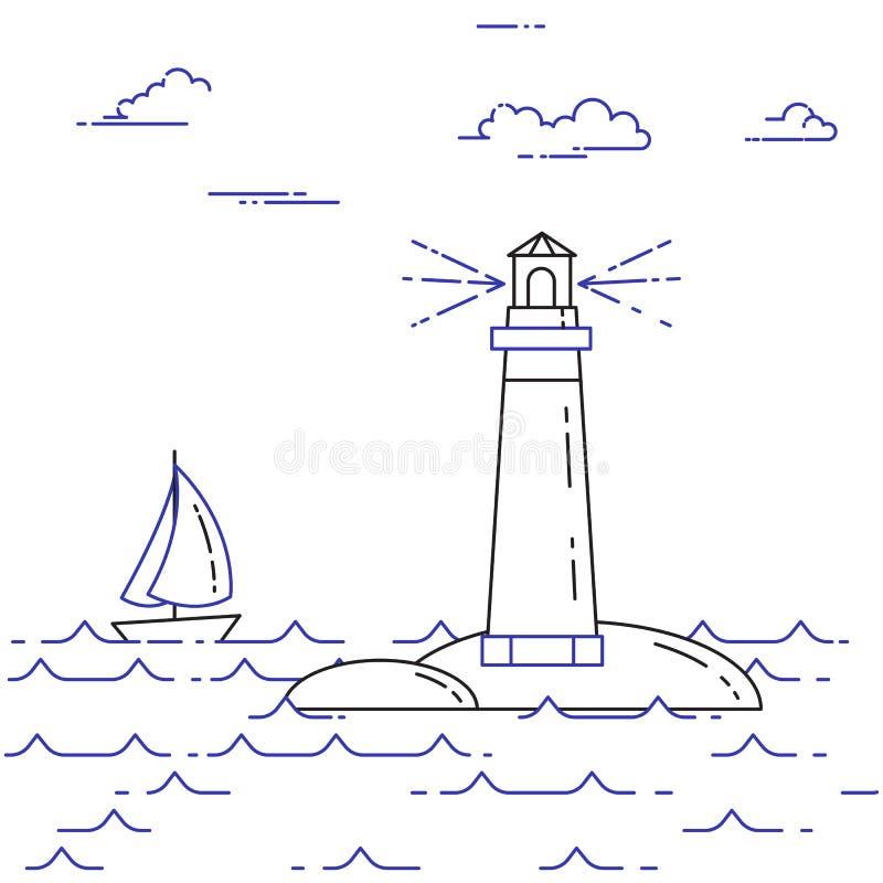 Podróżny horyzontalny sztandar z żaglówką na fala i latarni morskiej Kreskowa sztuka royalty ilustracja