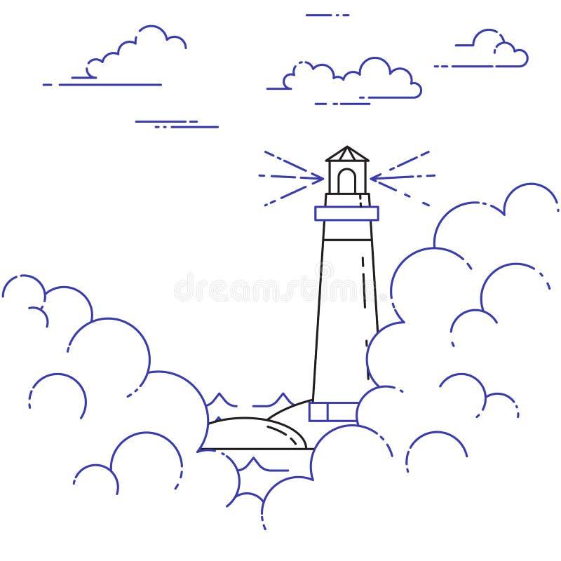 Podróżny horyzontalny sztandar z latarnią morską w mgle Kreskowa sztuka ilustracji