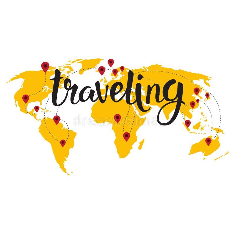 Podróżny literowanie Nad Światowej mapy tła turystyki przygody ręka Rysującym pojęciem ilustracji