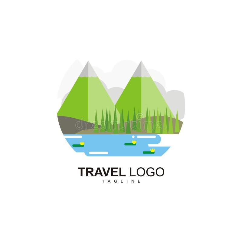 Podróżny logo z widokiem bliźniaczego mountaint pojęcia, jeziora i troszkę fotografia stock