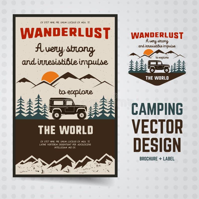 Podróżomania loga emblemat i broszurka szablon Rocznik podróży ręka rysująca odznaka Uwypuklać starą samochodową jazdę przez royalty ilustracja