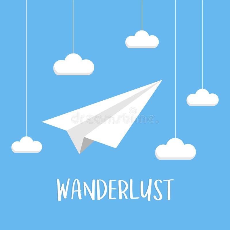 Podróżomania papieru samolot na niebie z chmurami royalty ilustracja