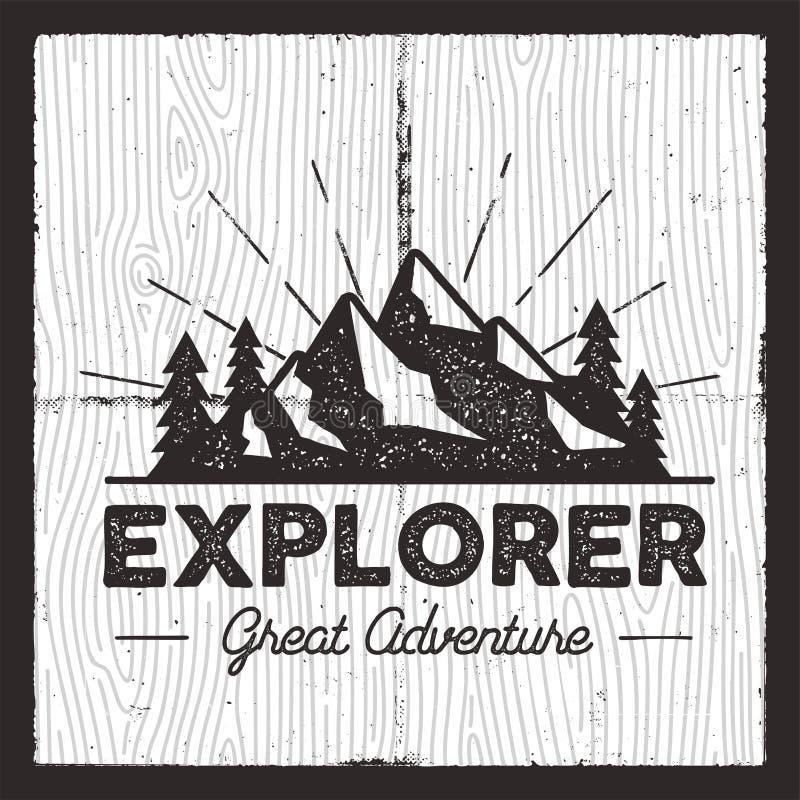 Podróżomanii Campingowa odznaka Starej szkoły t druku odzieży ręki rysować koszulowe grafika Retro Typograficzny Obyczajowy wycen ilustracji