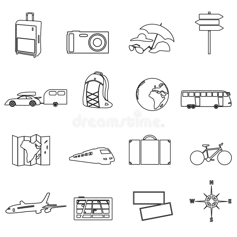 Podróżować Ana transportu konturu urlopowe ikony ilustracja wektor