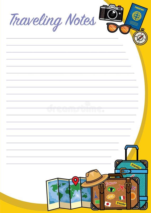 Podróżować notatka projekt z przedmiota setem royalty ilustracja