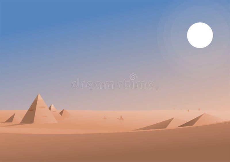 Podróżować w pustynnej teren ilustracji ilustracja wektor