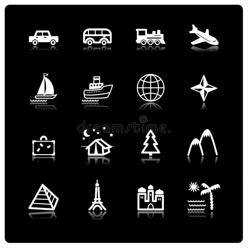podróżują ikony white