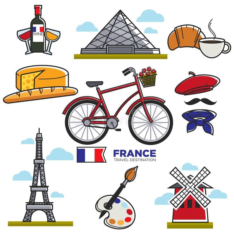 Podróżujący Francja, turystyczna mapa z tradycyjnymi elementami royalty ilustracja